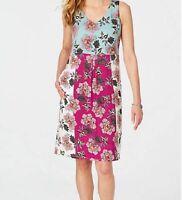 J. Jill  Dress 2X Jersey Knit Pretty Floral Panels Cream Blue Berry  $109 NWT