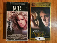 (Lot2) Nuts 1987 A Beautiful Mind 2001 VHS HTF OOP Original Drama Romance
