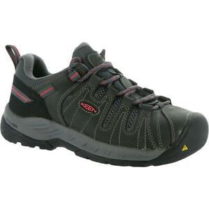 Keen Womens Flint II Gray Leather Work Shoes Sneakers 9 Wide (C,D,W) BHFO 0994