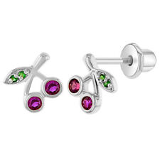 Rhodium Plated Fuchsia Green Crystal Cherries Screw Back Girls Earrings