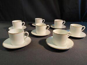 A Set of 7 Tiffany & Co Espresso Demitasse Coffee Cups & Saucers White Gold Rim