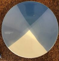 "Gibson China Blue White Geometric Triangles Patch Large DINNER PLATE 11+"" As-is"