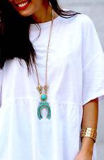 Zara Hermoso Boho vestido con Collar de Cadena Colgante de cuentas de Piedra Collar Nuevo