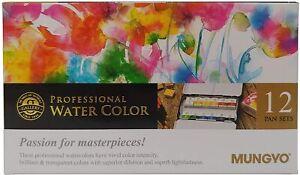 Mungyo Gallery Artists' Watercolor Pan Set 12 Assorted Colors Half Pan MWPH-12