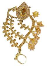 Indian Bracelet Bangle Style Gold CZ Stone Wedding Jewelry Hand Ring Bracelet