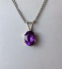 Natural Purple African Amethyst Sterling Silver 925 Pendant 8 X 6 NEW 1.25 ct