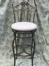 Metal French Fleur De Lis Bar Stool Antique Silver Finish Swivel Seat Avail EUC