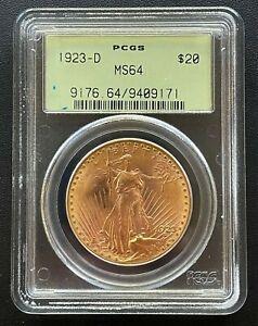 1923-D $20 Gold Saint Gaudens Double Eagle, NGC MS-64, High Grade Coin