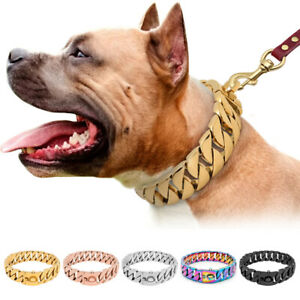 Big Dog Chain Collar with Buckle Strong Heavy Duty Stainless Steel Cuban Link