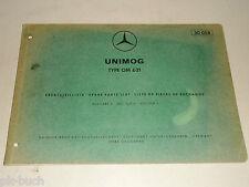 Teilekatalog Ersatzteilliste Mercedes Benz Unimog Motor Typ OM 621,  04/1966