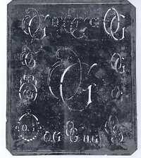 Große Monogramm Schablone OG Jugendstil Weißblech 16,5 x 18 cm Weissstickerei