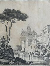 More details for italianate grand tour cityscape c1820 pencil drawing signed with initials