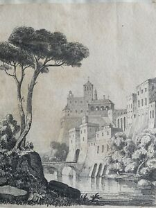 Italianate Grand Tour cityscape c1820 pencil drawing signed with initials