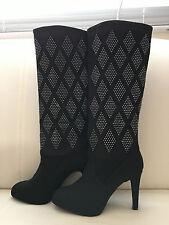 Colin Stuart for VS Diamond Shape Rhinestone Knee-High Dress Boot Black 7.5B NEW