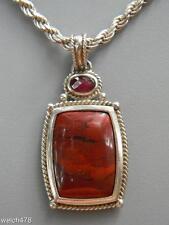 "Vintage Sterling Silver Red Jasper w/Garnet Accent Pendant & 20"" Sterling Chain"