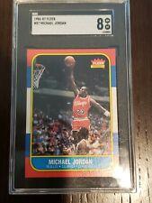 1986 Fleer Michael Jordan #57 Chicago Bulls RC Rookie SGC 8 NM - MT!! Legend!