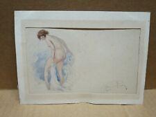 RENE PEAN (1875-1955) petite aquarelle femme nue adressée à Fernand MAILLAUD