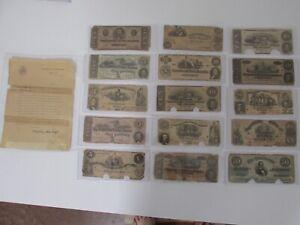 Rare Confederate Note Lot of 15 with 1912 U.S.Treasury Secretary Documentation