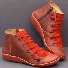 Leather Ankle Boots Vintage Women Comfortable Flat Heel Boots Zipper Short Boots