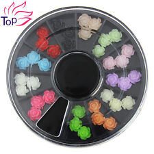 Top Nail 1Pcs 3D Nail Art Wheel Resin Flower Rhinestones Charms Manicure ZP211