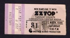 1977 Zz Top Muddy Waters Concert Ticket Stub Ft. Worth World Wide Texas Tour