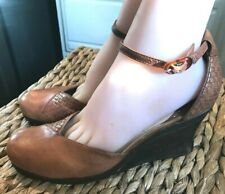 """KENNETH COLE REACTION BROWN LEATHER WOOD WEDGE ANKLE STRAP HEELS """"CEDE LESS"""" 9"""