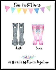 A4 Personalised FAMILY NEW HOME Welly Boots Wall Art PRINT ONLY / CHRISTMAS GIFT