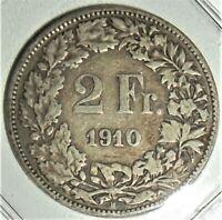 SWITZERLAND - 1910B silver 2 Francs KM #21
