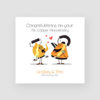 Personalised Handmade 7th Copper Wedding Anniversary Card - Seventh, Funny
