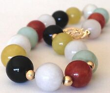 "VTG JADE BRACELET Solid 14K GOLD 7.5""  Multi-Color Round Carved jade Beads GUC!x"