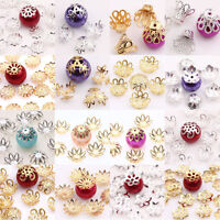 New 50-300Pcs Findings Charms Filigree Flower Cone End  Metal Flower Bead Caps