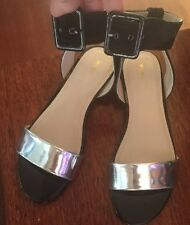 BNIB Leather MIMCO Black & Silver Ankle  Summer Sandals/Flats Size 37 RRP $179!