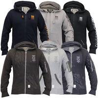 Mens Sweatshirt Crosshatch Hooded Top Sweat Zip Fleece Lined Casual Winter New
