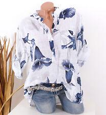 Bluse Damen Tunika 42 44 46 weiß Longbluse Fischerhemd Leinen Optik Blumen Damen