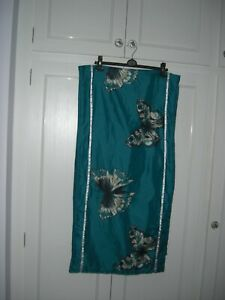 DREAMSCENE QUILTED FILLED BED RUNNER TEAL GREEN/WHITE/BUTTERFLIES 194x50 cm VGC