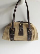 ROBERT PIETRI Khaki Cowhide Suede & Dark Brown Leather Trim Dome Satchel Bag EUC