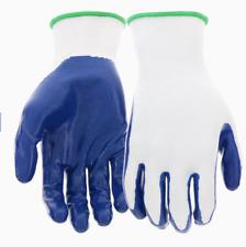 10 Pairs Blue Hawk Large Polyester Nitrile-Coated Multipurpose Work Gloves