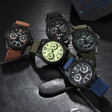 Fashion Men's Sport Wrist Watch Stainless Steel Leather Military Quartz Watch AU