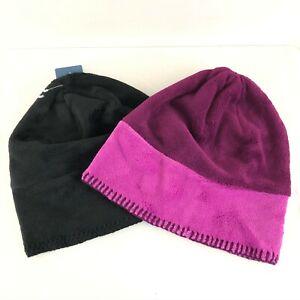 Lot of 2 White Sierra Fleece Beanies Black Purple Slouchy Warm Soft Youth S/M