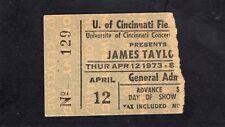 Original 1973 James Taylor concert ticket stub University of Cincinnati Ohio