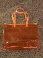 NEW Clinique Happy Orange Clear Plastic PVC Shopping Beach Large Tote Bag
