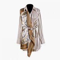 2019 New Women Lapel Long Sleeve Striped Pattern Irregular Long Sleeve Shirt