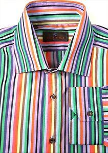 New ETRO Sz 42 / Large Vibrant Pastel Striped Dress Shirt NWOT Green Pink Purple