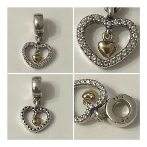 PANDORA FOREVER IN MY HEART CHARM WITH 14ct GOLD REF 791421CZ DISCONTINUED