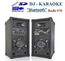 CASSE ACUSTICHE ATTIVE AUDIO AMPLIFICATE KARAOKE BLUETOOTH USB SD MP3 Radio FM