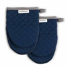 New listing KitchenAid Asteroid Mini Cotton Oven Mitts with Silicone Grip, Set of 2, Blue Wi