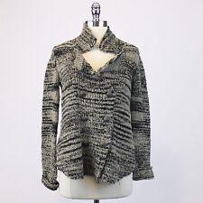 FREE PEOPLE Striped Knit Marled Blazer Sweater Tan Beige Black Moto Jacket Sz S