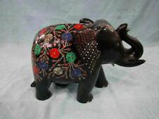Animal figurines  Elephant Sculpture  Black Marble Inlay Work