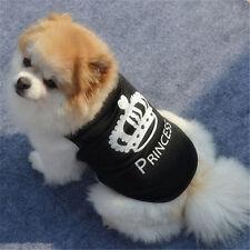 Small Black & White Princess & Crown Pet Shirt. Size S Clothes Puppy Vest Blouse