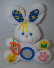 "Vintage Fisher Price Bunny Rabbit Plush Baby Toy 17"" Rattle Mirror Squeak White"